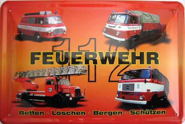 Blechschild Feuerwehr 4er rot B1000 Robur Leiterwagen W50