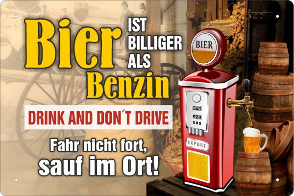 Blechschild Bier ist billiger als Benzin (quer)
