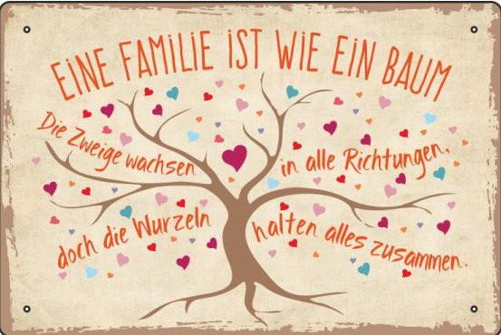 Blechschild Familie ist wie ein Baum