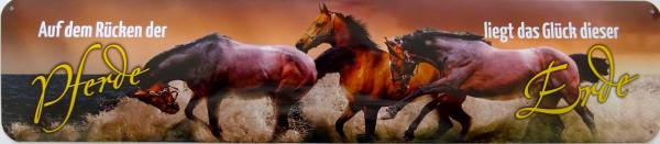 Straßenschild Auf dem Rücken der Pferde Glück der Erde