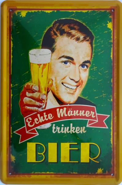 Blechschild 20x30cm - Echte Männer trinken Bier (Mann)