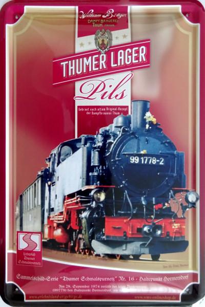 Blechschild Thumer Lager Lok Nr. 16