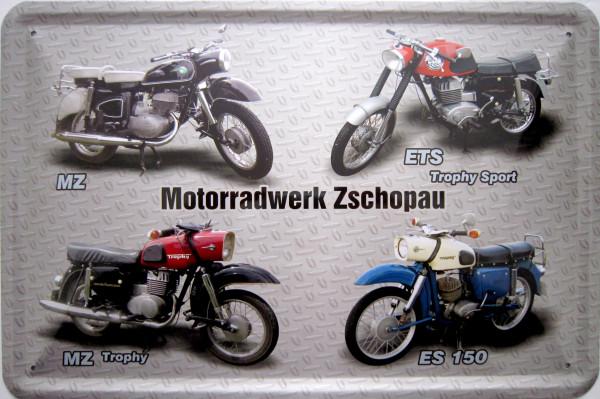 Blechschild Motorradwerk Zschopau 4er MZ (grau)