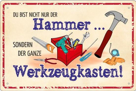 Blechschild Du bist nicht der Hammer - ganzer Werkzeugkasten
