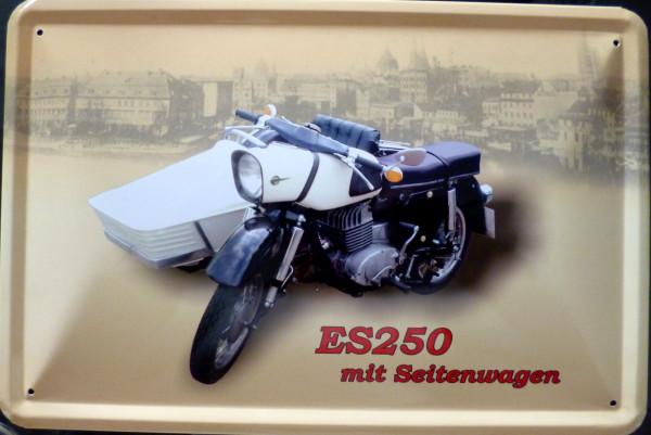 Blechschild ES250 mit Seitenwagen