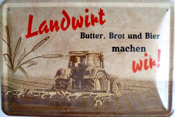 Blechschild Landwirt Butter Brot und Bier