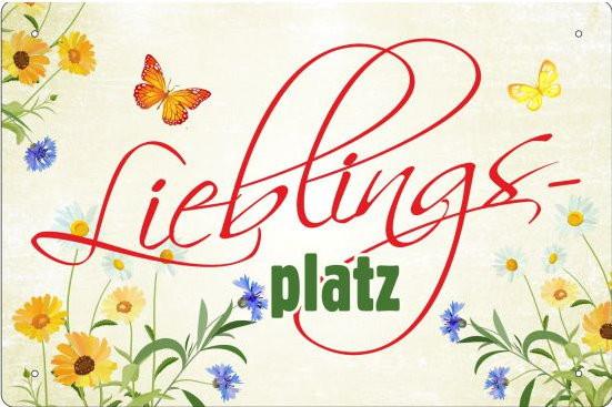 Blechschild Lieblingsplatz (bunt)