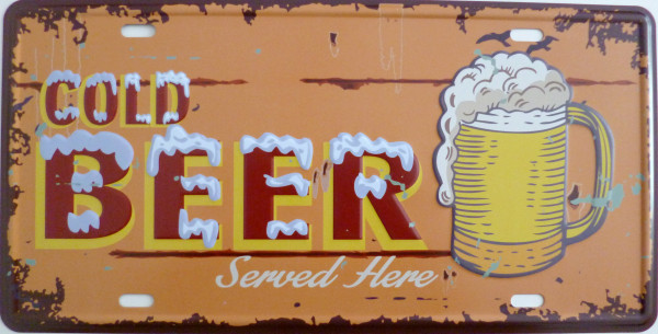 Blechschild 15x30cm - Cold beer served here