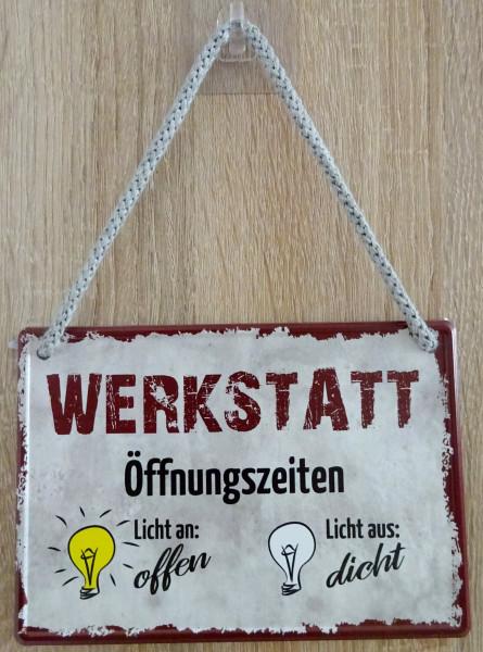 Hängeschild - Werkstatt-Öffnungszeiten Licht an/aus