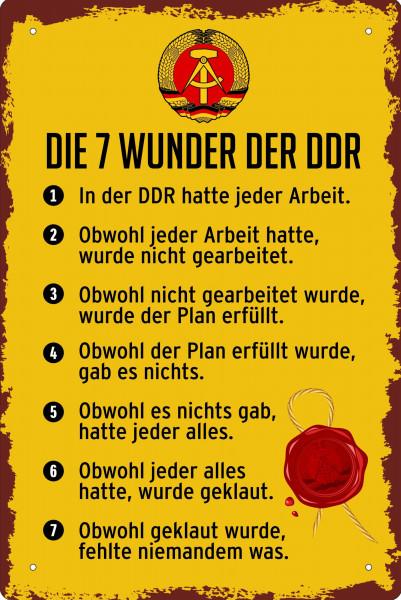 Blechschild Die 7 Wunder der DDR