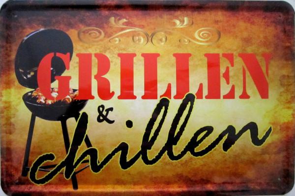 Blechschild Grillen & Chillen