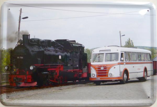 Blechschild Lok + Bus