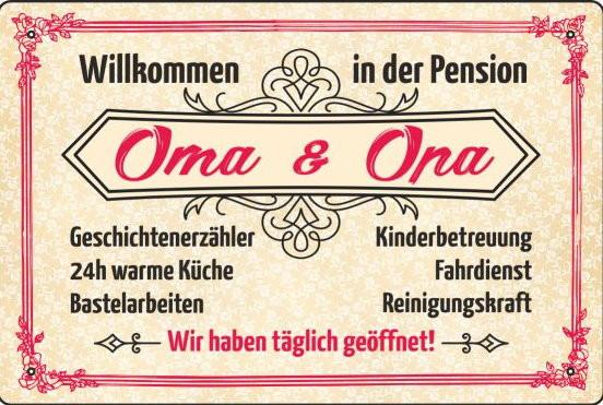 Blechschild Pension Oma und Opa
