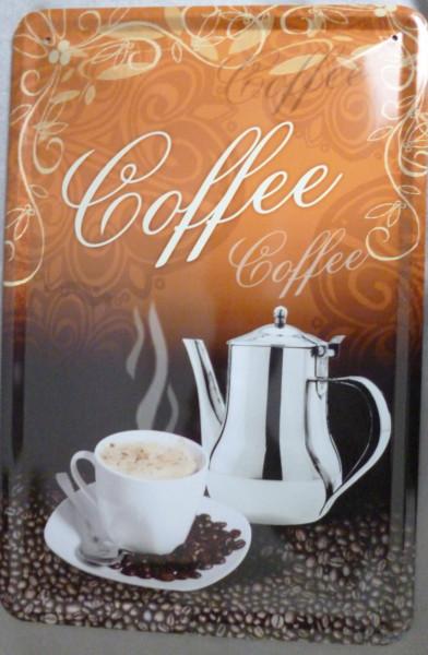 Blechschild Coffee (silber)