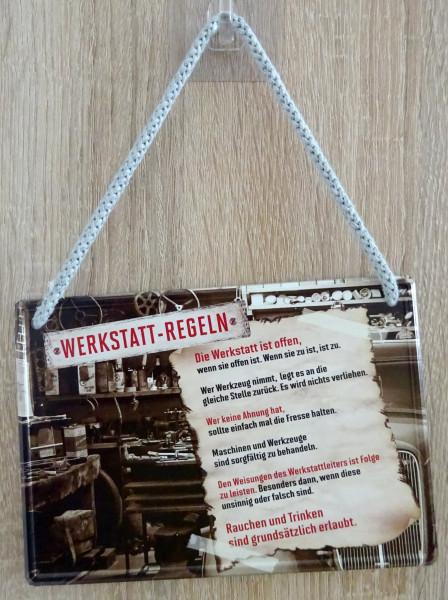 Hängeschild - Werkstatt-Regeln