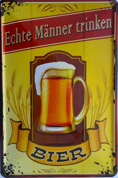 Blechschild 20x30cm - Echte Männer trinken Bier (Glas)