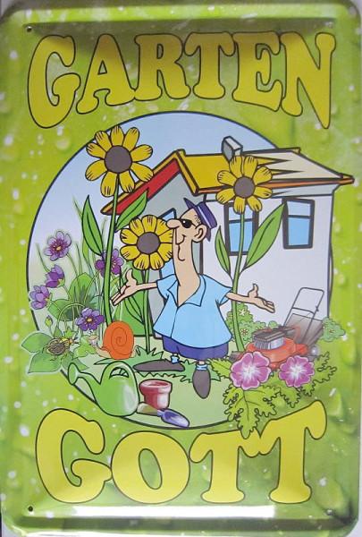 Blechschild Gartengott