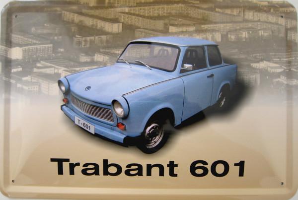 Blechschild Trabant 601 hellblau