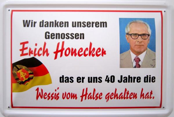 Blechschild Honecker Dank Wessis
