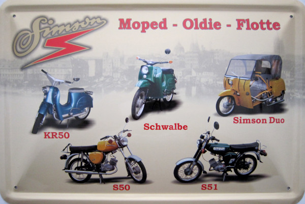 Blechschild Moped-Oldie-Flotte 5er KR50 Schwalbe Duo S50 S51