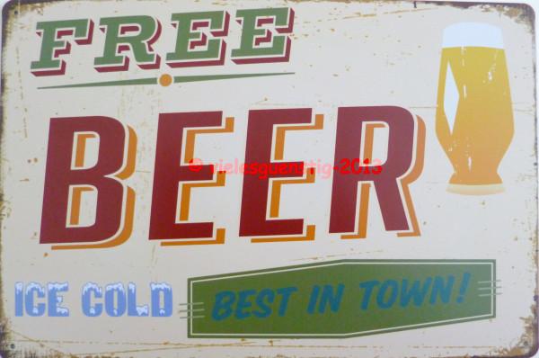 Blechschild 20x30cm - Free Beer