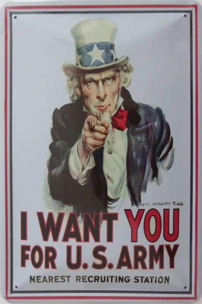 Blechschild I want you fpr U.S. Army