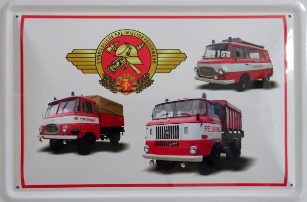 Blechschild 3er Feuerwehr (weiß)
