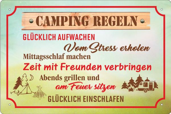 Blechschild Camping Regeln