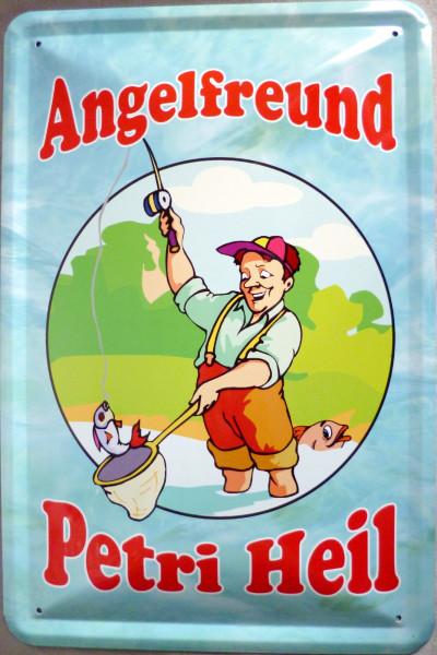 Blechschild Angelfreund Petri Heil