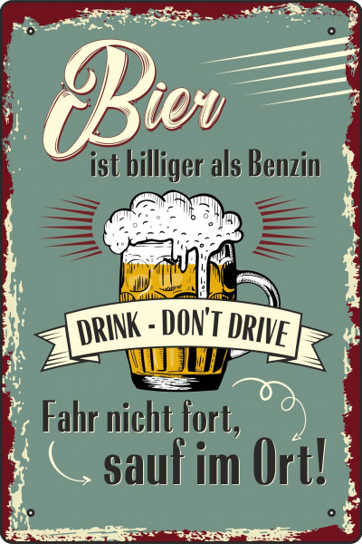 Blechschild Bier ist billiger als Benzin (2)