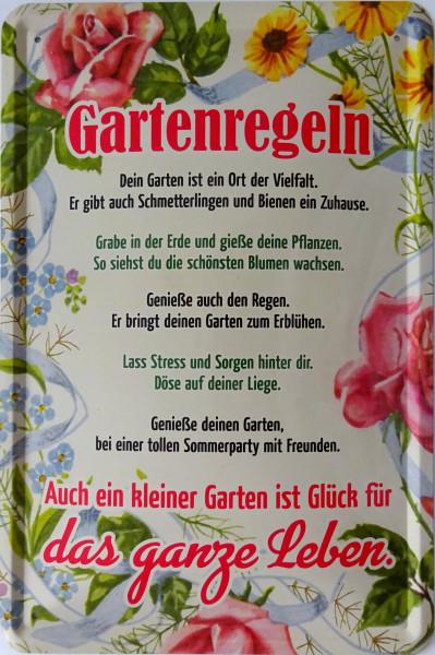 Blechschild Gartenregeln
