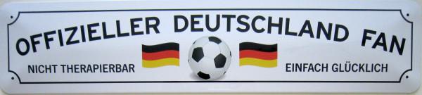 Straßenschild Offizieller Deutschland Fan (weiß)