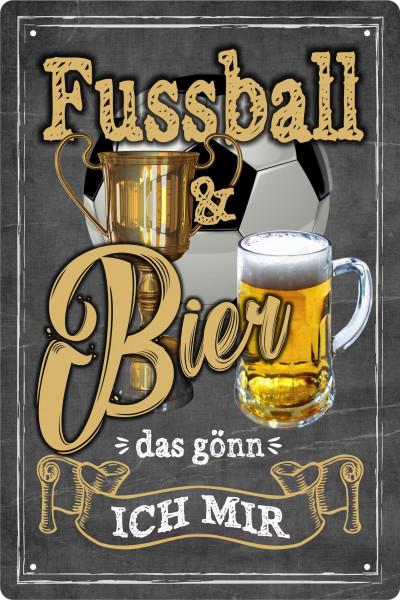 Blechschild Fussball und Bier - das gönn ich mir