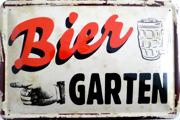 Blechschild Biergarten vintagte