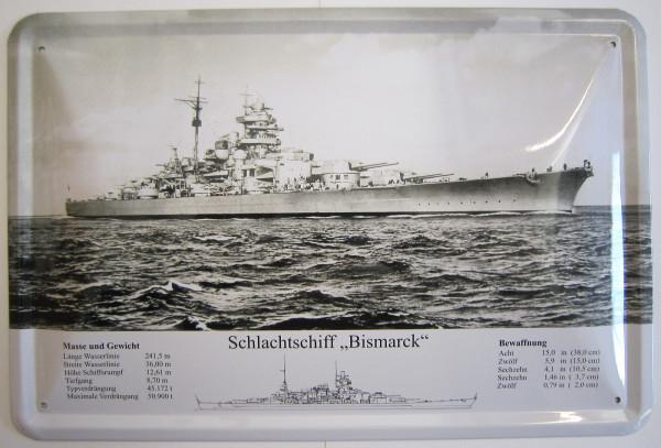 Blechschild Schlachtschiff Bismarck